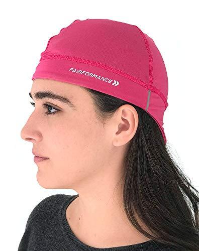 PAIRFORMANCE Helmet Liner Skull Cap Beanie Hat Slouch Moisture Wicking Running Cycling (Pink)