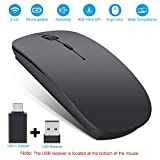Rechargeable Wireless Mouse, Topist 2.4Ghz Slim Noiseless Mute Silent Click Optical Mouse Mice with USB Receiver Type C for Laptop, Desktop, Tablet, Notebook, PC, Computer, MacBook - Black