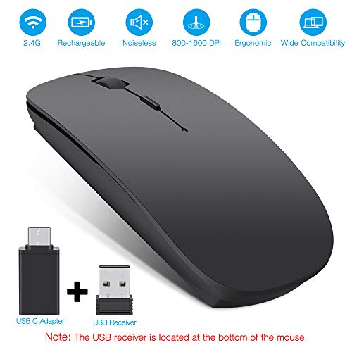 s Mouse, Topist 2.4Ghz Slim Noiseless Mute Silent Click Optical Mouse Mice with USB Receiver Type C for Laptop, Desktop, Tablet, Notebook, PC, Computer, MacBook - Black ()