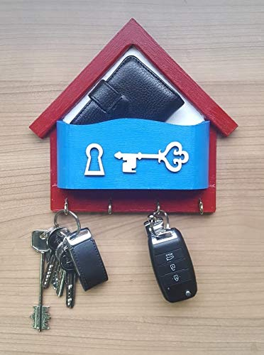 ((Handpainted) Mail,Letter, Pack & Key Holder, Wall Mounted for Entryway Wooden Organizer (with 4 Key Hooks))