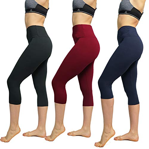 FuelMeFoot 3 Pack High Waisted Yoga Leggings -Regular and Plus Size -Super Soft Capri-Length Opaque Slim (Black, Red Wine,Navy(3 Pairs), Plus Size)
