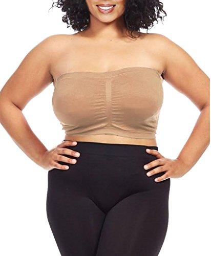 (Dinamit Women's Plus Size Seamless Padded Bandeau Tube Top Bra Khaki 3X-4X)