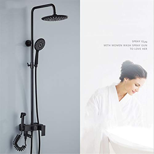 UNIQUE-F Shower Set Matte Black Antique Round Rain Head Handheld Nozzle Silicone Soft Head is Not Easy to Breed Bacteria Rust Wear Durable by UNIQUE-F (Image #2)