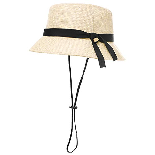 Womens Ladies Summer Sun Beach Straw Bucket Hats UV Protection Fashion Outdoor Patio Crushable Packable Foldable Beige