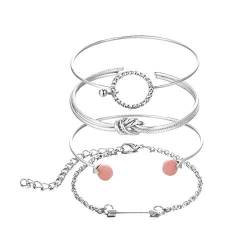 omen Fashion Rhinestone Knot Circle Arrow Open Bracelet Bangle Jewelry Silver ()