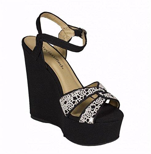 Staden Klassificerade Womens Pemba Peep Toe Blomma Strappy Sandal Med Ankelbandet I Svart Linne