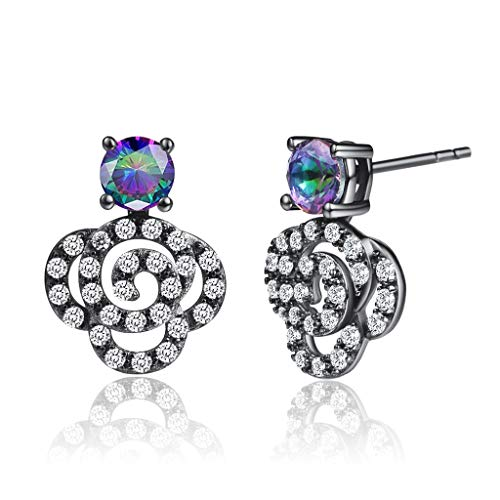 Fashion S925 Sterling Silver Cubic Zirconia Stud Earrings For Women 4 Prong Sparkling Round Pure Brilliance CZ Stud Earrings with Large Earring Back (Mystic 4mm Black)