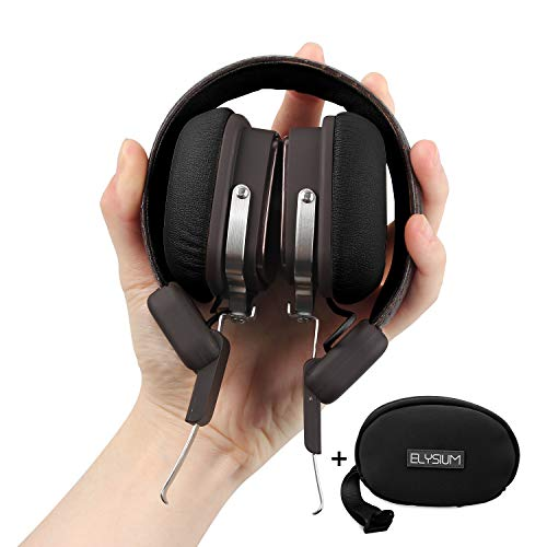 Wireless Bluetooth Stereo Headphones with Mic for Music Streaming Rechargeable Noise Isolation Foldable Clear Bass Sound Bluetooth 4.1, 30 Hours Playtime, Support Wired Mode (Black-Brown)