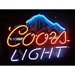 "Coors Light Ice Mountain Acrylic Board Neon Sign 17""x13"" Real Glass Neon Sign Light for Beer Bar Pub Garage Room."