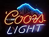 Coors Light Ice Mountain Acrylic Board Neon Sign 17''x13'' Real Glass Neon Sign Light for Beer Bar Pub Garage Room.