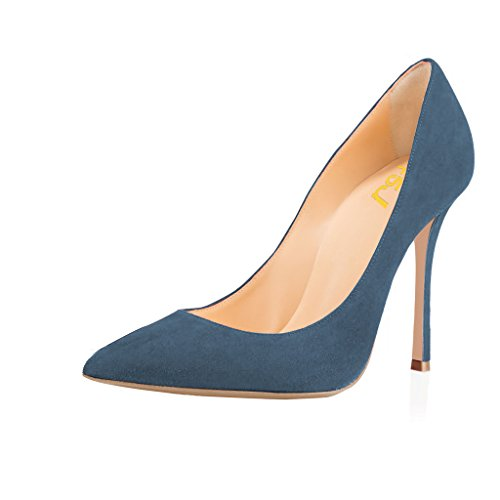 FSJ Women Faux Suede Pointed Toe High Heel Pumps Sexy Slip On Stilettos Shoes For Office Size 4-15 US Steel Blue