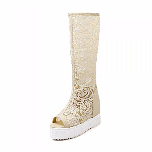 Primavera y otoño de zapatos de mujer de encaje, botas de superficie neta inferior grueso para aumentar la boca de pescado, solo zapatos grandes astilleros Beige