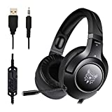 Ceppekyy Gaming Headset PS4, PC, Xbox One, Surround Sound Over-Ear Headphones Noise Cancelling Mic,Soft Memory Earmuffs Laptop Mac Nintendo Switch Games