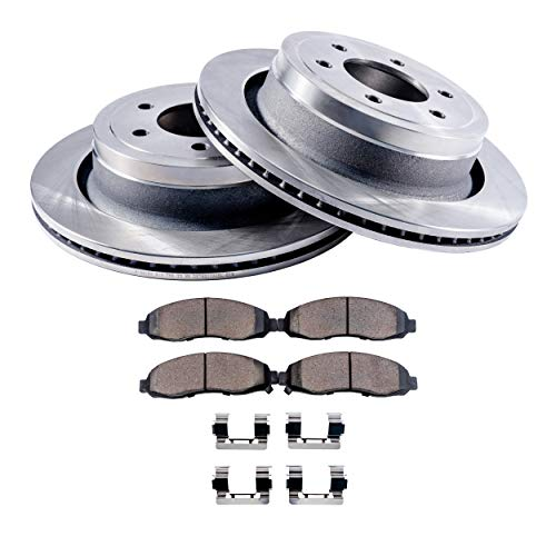 Detroit Axle - Complete FRONT Brake Rotors & Ceramic Brake Pads w/Clips Hardware Kit for Models Manufactured Between 2004-3/2005 - QX56, Armada, ()