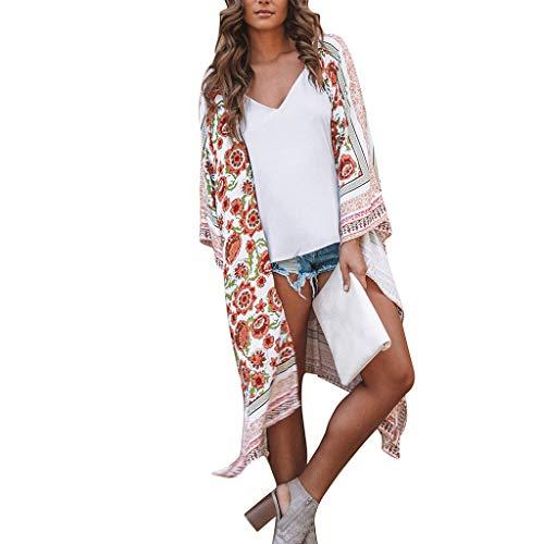 Mysky Fashion Women Summer Bohemian Floral Print Chiffon Shawl Cardigan Ladies Brief Bikini Cover Up Beachwear -