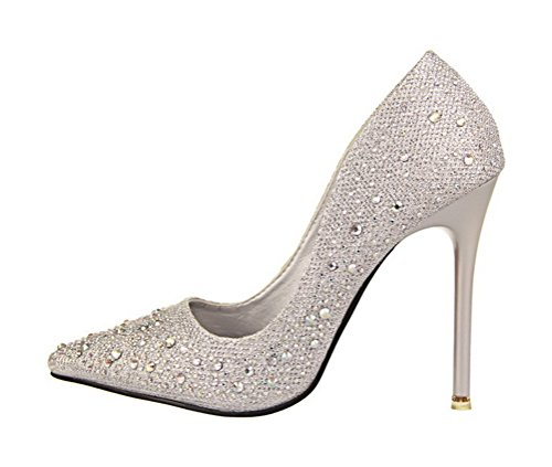 Toujours Jolie Femme Strass Haut Talon Robe Pompe Chaussures Argent