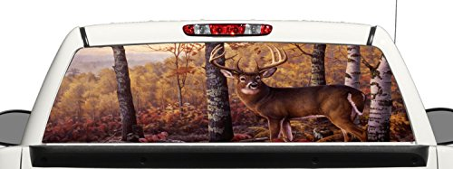 Deer Hunting Rear Window Graphic Decal Perforated Vinyl Wrap b3 (Rear Window Hunting Decal)
