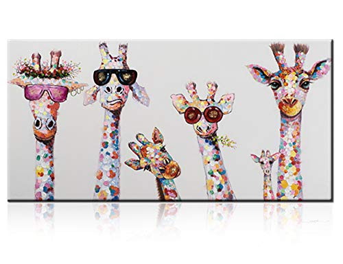 Large Giraffe Family Paintings, 100% Hand Painted Funny Animal Fashion Giraffe with Sunglasses Canvas Oil Painting Stretched and Framed Ready to Hang Living Room Bedroom Kidroom Bathroom ()