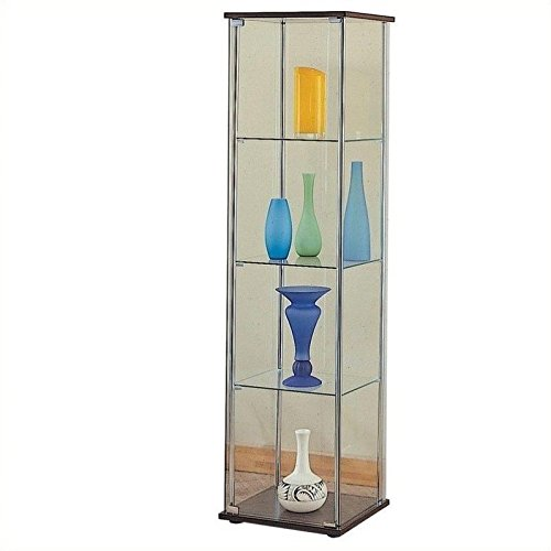 Coaster Modern Contemporary Glass Curio Cabinet with Cappucc