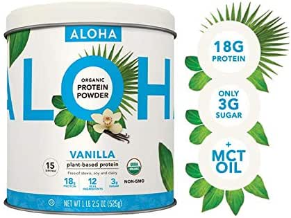ALOHA Organic Vanilla Plant-Based Protein Powder with MCT Oil, 18.5 oz, Makes 15 Shakes, Vegan, Gluten Free, Non-GMO, Stevia Free and Erythritol Free, Soy Free, Dairy Free and Only 3g Sugar