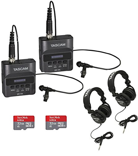 Tascam DR-10L Digital Recorder with Tascam Headphones & 32GB SD Card (2-pack) by Tascam