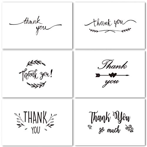 Thank You Cards of Ohuhu, 48 Pack Thank You Notes, 6 Design of 48 Assorted Thank U Greeting Note Card Set for Wedding, Business, Blank on The Inside, Include Envelopes and Stickers - 4 x 6 Inch