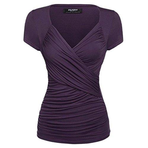 UPXIANG Camicia - Maniche Corte - Donna Purple