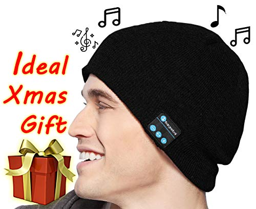 Bluetooth Wireless Beanie Hat Unique Awesome Christmas Tech Gifts Under 20 Teen Boy Man Woman Girl Party Unisex Stereo Speaker and Microphone Knit Skull Cap (Black)