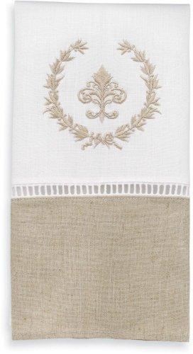 Pastel de barro lino blanco y avena aréola toalla con flor de Lis: Amazon.es: Hogar