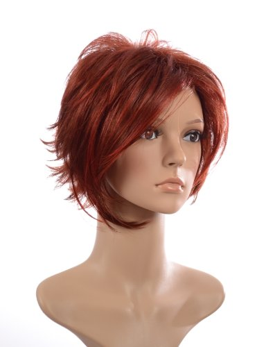 Red Sharron Osbourne Style Short Wig | Lightweight Layered Style | Face Framing Bangs