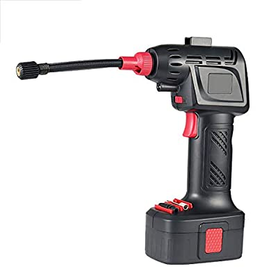 Cordless Tire Inflator Portable Handheld Air Compressor,Automatically Stops for Car Bike Motorcycle Inflatables Pressure Gauge Rechargeable LI-ion Battery 12V DC