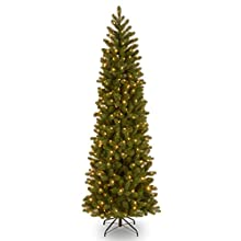 "National Tree 7.5 Foot ""Feel-Real"" Downswept Douglas Fir Pencil Slim Tree with 350 Clear Lights, Hinged (PEDD4-392-75)"