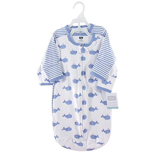 Hudson Baby unisex baby Cotton Long-Sleeve Sleeping Bag, Sack, Wearable Blanket, Blue Whales, 3-9 Month US