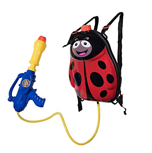 Toyrifik Water Gun Backpack Water Blaster For kids -Water Shooter With Tank Lady Bug Toys For Kids- Summer Outdoor Toys For Pool Beach Water Toys For Kids