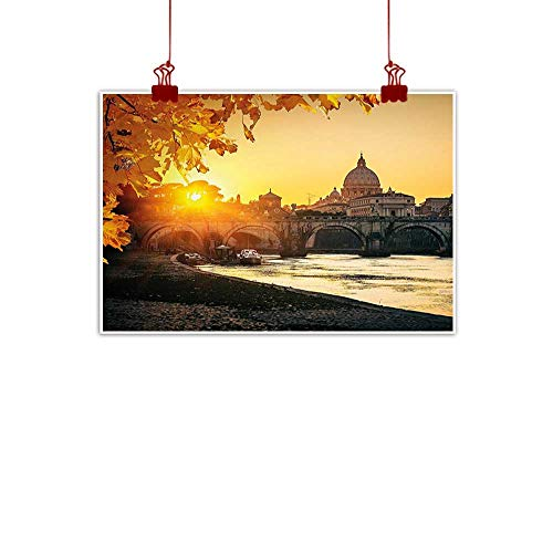 Outdoor Nature Inspiration Poster Wilderness Fall,Sunset at Tiber River St Peter Rome City Italy Basilica Touristic Ancient,Marigold Yellow Black 36