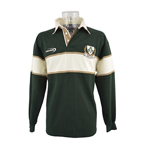 Cotton Long Sleeve Rugby Shirt - BOTTLE GREEN/NATURAL IRELAND 3 SHAMROCK LONG SLEEVE RUGBY ,Green,Medium