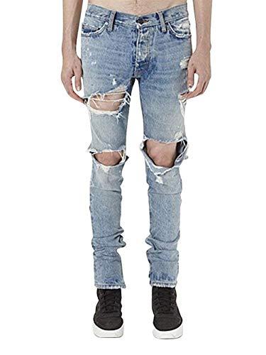 Strappati Pantaloni Jeans Comodo Stretch Slim Uomo Blau Battercake Denim Da Fit H1xOCUqU