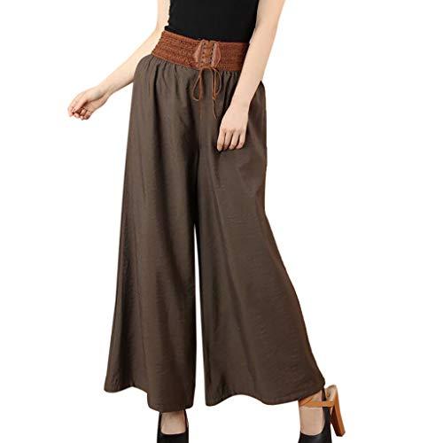 - UOFOCO Casual Linen Wide Leg Pants Women High Waist Belt Pants Solid Lady Loose Pants Brown