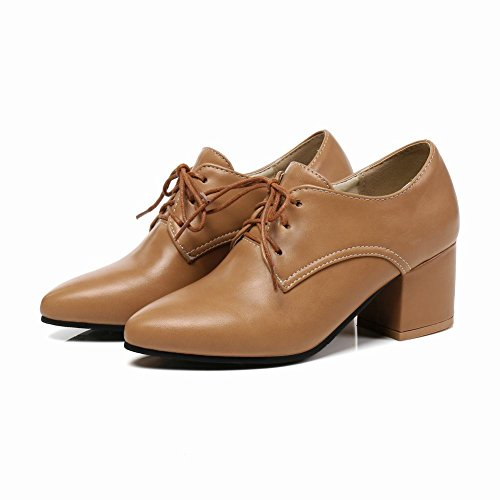 Mee Shoes Women's Work Lace Up Mid Heel Court Shoes Yellow vJMTjgz1pD