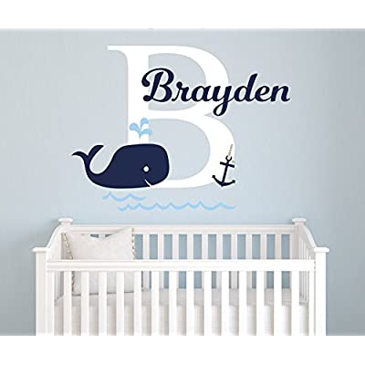 """Name Wall Decal - Whale Wall Decal - Nautical Baby Room Decor - Anchor Wall Decal - Nursery Wall Decals Vinyl (26""""W x 16""""H): Baby"""
