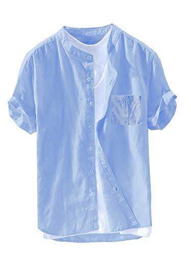 Beotyshow Mens Casual Cotton Linen Button Down Short Sleeve Henley Shirt Summer Plain Crew Neck Shirts Solid Color Poplin Slim Fit Oxford Shirt for Men