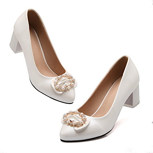 Closed Pointed Pumps Kitten Shoes Toe On White Pu Women's WeiPoot Pull Heels Solid XRqAfZZ