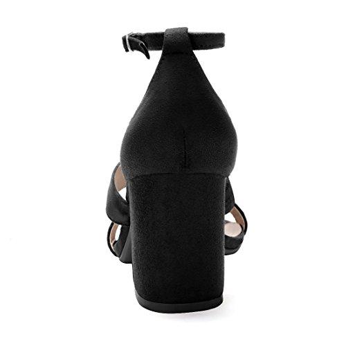 Sandalias De Tacón Allegra K Para Mujer, Con Tres Correas Y Tacón Negro