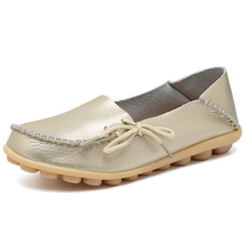 Fantiny Women's Genuine Leather Loafers Casual Moccasin Driving Shoes Indoor Flat Slip-On Slippers Gold1