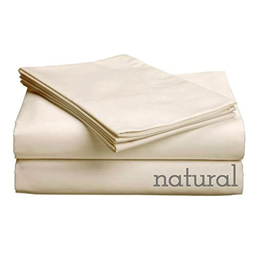 Pure Collection 300ct 100% Egyptian Certified Organic Cotton Comfort Sleeper Sheet Set Queen Natural