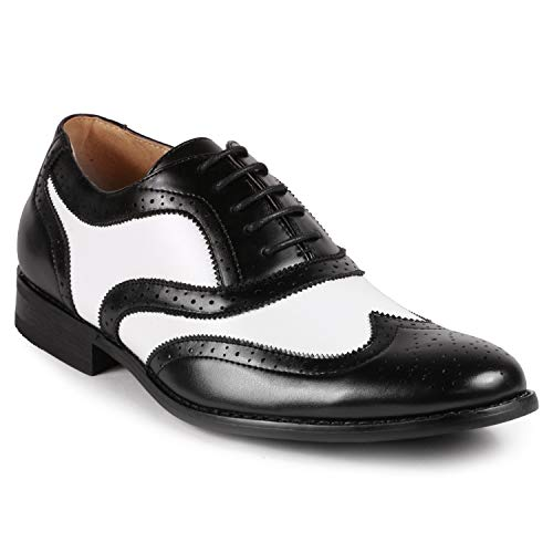 - Metrocharm MC145 Men's Two Tone Perforated Wing Tip Lace Up Oxford Dress Shoes (13, Black White)