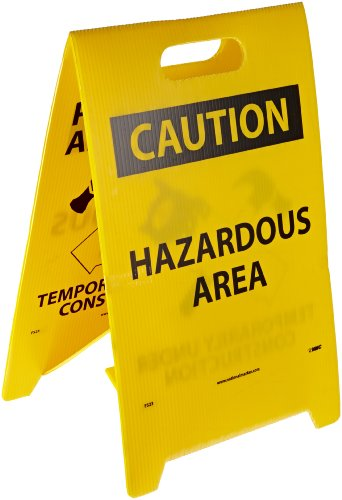 """NMC FS23 Double Sided Floor Sign, Legend """"PARDON OUR APPEARANCE TEMPORARILY UNDER CONSTRUCTION CAUTION HAZARDOUS AREA"""" with Graphic, 12"""" Length x 20"""" Height, Coroplast, Black on Yellow"""