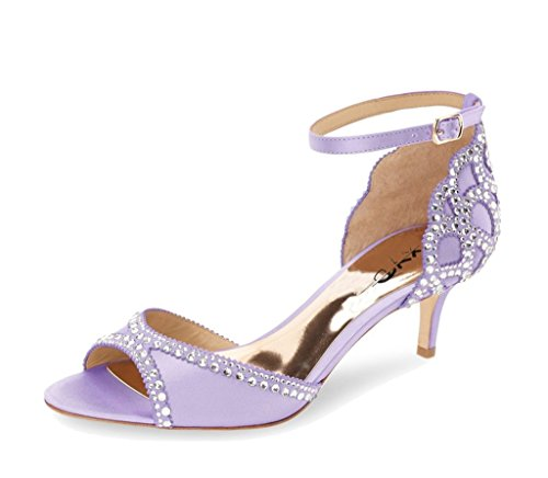 XYD Ballroom Dance Shoes Wedding Sandals Pumps with Rhinestones Ankle Strap Peep Toe Heels for Women Size 7 Light Violet ()