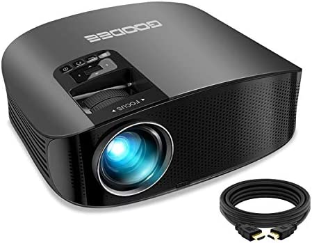"""Projector, GooDee 2021 Upgrade HD Video Projector 6800L Outdoor Movie Projector, 1080P and 230"""" Support Home Theater Projector, Compatible with Fire TV Stick, PS4, HDMI, VGA, AV and USB, Black (YG600)"""