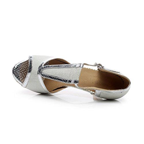 misu - Zapatillas de danza para mujer negro negro plata